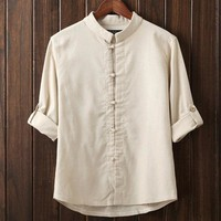 Stand Up Collar Plus Size Masculina Camisas Shinese Knot Button Leisure Men Shirts Solid Color Fancy Blouses