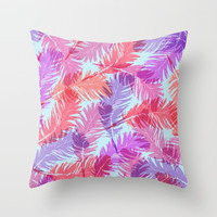 Feathers pattern Throw Pillow by juliagrifoldesigns