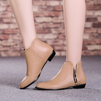 Pu Leather Ankle Boots with Zipper Women Shoes New Arrival