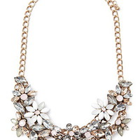 Faux Gem Flower Necklace