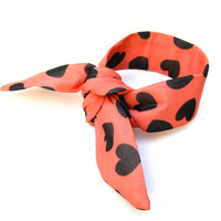 Heart Printed Bun Wrap Top Knot Tie Wired Hair Accessory for Buns or Pony Tails Wrist Wrap Coral Brown Hearts Cute Teen Women Small Gift