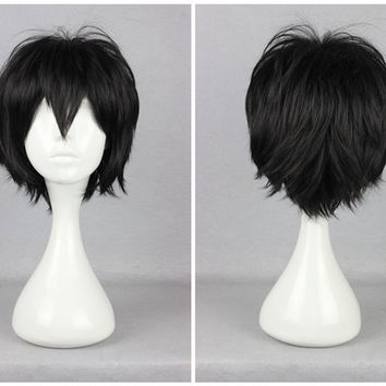 Promotion Kagerou Project Seto Kosuke High Quality Black Man 30cm Short Anime Cosplay Wig,Colorful Candy Colored synthetic Hair Extension Hair piece 1pcs WIG-555G