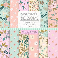 Shabby Floral Digital Paper. Cottage Chic Scrapbooking Paper. Hand Drawn Peony, Rose Blossom Background. Pink, Mint, Peach Flower Pattern
