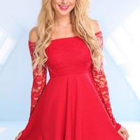 Red Long Sleeve Lace Off the Shoulder Dress