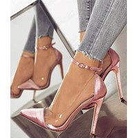 New style high heel pointed toe color matching belt buckle fashion ladies shoes