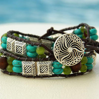 Pavati.... Leather Wrap Bracelet....  Indian Style, Country Style. Original OceanBead style.