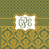 Elegance Green and Yellow  Designer Style Shower Curtain - Damask and Quatrefoil graphics, Personalized CUSTOM