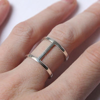ON SALE Double band ring made of Sterling silver, simple ring, made to order