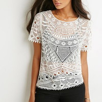 Mesh-Paneled Crochet Top