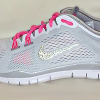 Nike Free 5.0 TR Fit 4 in White/Diffused Jade/Pink Glow/Metallic Silver with Swarovski crystal detail