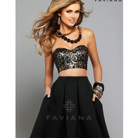 Preorder - Faviana 7659 Black & Gold Sequined Two Piece Corset Dress 2015 Homecoming Dresses