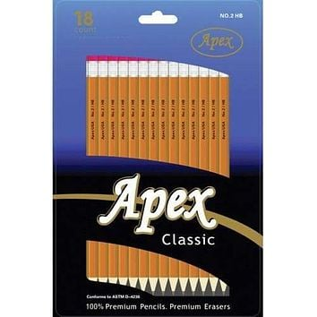 Case of [48] Apex #2 Pencils - 18 Count, Yellow, Pre-sharpened
