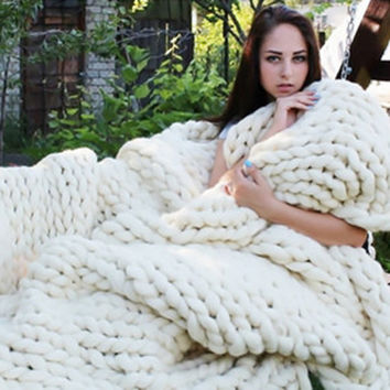 Wool thick Line Knitted Blanket 100% Natural Anti-Pilling Used in Bed Sofa Plane Blanket Super Soft !