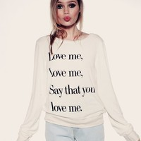 LOVE ME- BAGGY BEACH JUMPER at Wildfox Couture in  CERAMIC WHITE, TEA STAIN