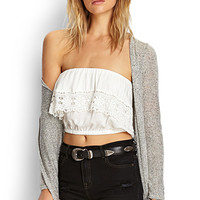 FOREVER 21 Strapless Crochet Crop Top Cream Large