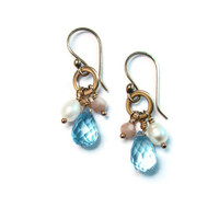 Multi Gemstone Cluster Earrings with Blue Topaz Freshwater Pearl and Pink Peruvian Opal - Boho Mermaid - Beach Goddess Inspired