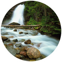 Paul Moore's Waterfall In Glacier National Park Circle wall decal