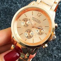 COACH  Watch Women Men Steel Watch Gold B-Fushida-8899