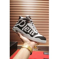 """""""Philipp Plein""""High Quality Popular Men Casual Leather High Top Running Sport Shoes Basketball Sneakers White/Black"""