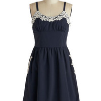 Appliques Now Accepted Dress in Navy