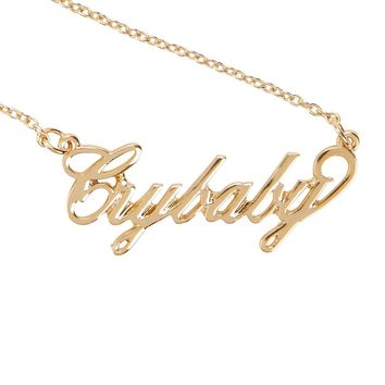 Licensed cool Melanie Martinez Cry Baby Crybaby Gold Tone Script Pendant Necklace Licensed NWT