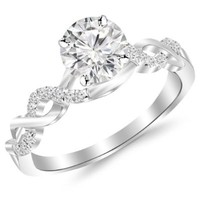 0.5 Carat Twisting Infinity Gold and Diamond Split Shank Pave Set Diamond Engagement Ring in White Gold with a 0.37 Carat I-J I2 Center