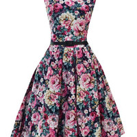 Vintage Floral Print High Waist Boat Neck Dress