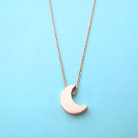 Crescent, Moon, Pink gold, Rose gold, Necklace, Jewelry, Simple, Necklace, Modern, Cute, Necklace, Birthday, Friendship, Gift, Jewelry