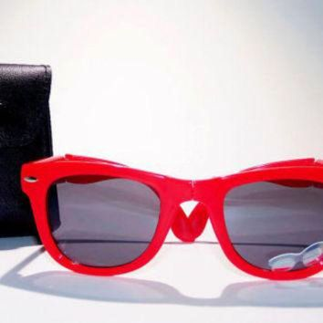 FREE SHIP usa! Red folding sunglasses with leather case / ray-ban wayfarer inspired /
