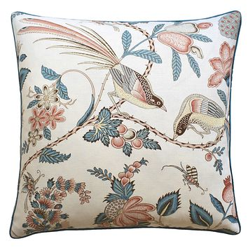 Campagne Peacock & Rouge Pillow by Ryan Studio