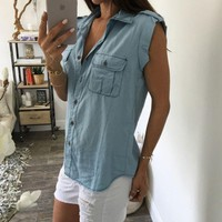LMFONPR Summer Women Denim Sleeveless Vest Tank Top T Shirt
