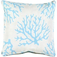 Outdoor Aqua Coral Print Pillow