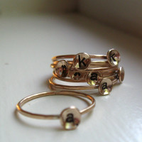Gold Initial Ring Stackable