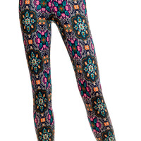 Leggsington Delia Multi Print Fleece Lined Leggings