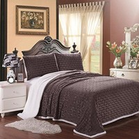 Luxurious Home Ultra Soft Reversible Queen Blanket with Sherpa Lining - Chocolate