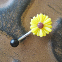Sunflower Belly Button Jewelry Stud Ring Yellow by Azeetadesigns