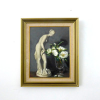 ON SALE Vintage original large oil painting classical Greek sculpture and flower still life