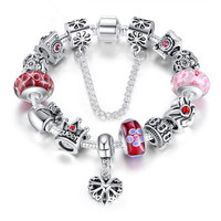 Antique Silver Plated Chain Queen Crown Crystal Glass Beads Bracelet