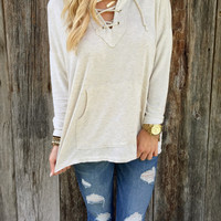 Plain Drawstring Long Sleeve Loose Shirt