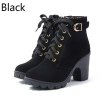 Women Winter Boots Plush Warm Botas Female Rubber Boots Women Ankle Boots Square Heel Matin Booties Winter Shoes 869747