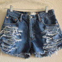 High Waisted Distressed Levi's Shorts (Size 28)