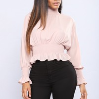 Dinner Plans Mock Neck Top - Rose