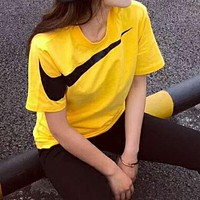 Nike Refreshing Summer Print Short Sleeve Round Collar Lovers T-Shirt Pullover Top Yellow I-XMCP-YC