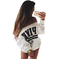 CREYOND Hoody White PINK Women's Tracksuits Strapless Sweatshirt Women Victoria Secret Mujer Adventure Time
