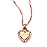 Michael Kors - Heritage Signature Pavé Heart Pendant Necklace - Saks Fifth Avenue Mobile