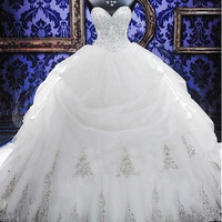 Luxury Gold Embroidery Ball Gown Wedding Dress 2017 Hot Sale Cathedral Train Vestido De Noiva Shiny Crystal Beaded Wedding Gowns
