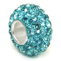 Sterling Silver Light Blue Crystal Ball Bead Charm