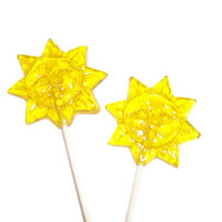 6 Sun Lollipops - Banana Flavor - Yellow Color - Sunshine for the winter blues
