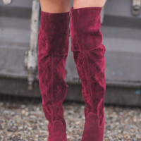 Lotta' Lovin' Lace Up Back Detail Boots (Wine)