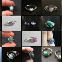 10 Handmade Wire Wrapped Rings Wholesale Lot